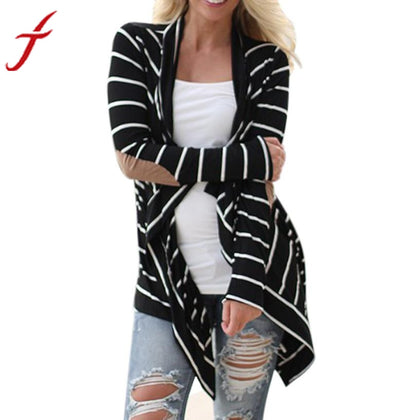 Women's Black White Casual Striped Cardigans
