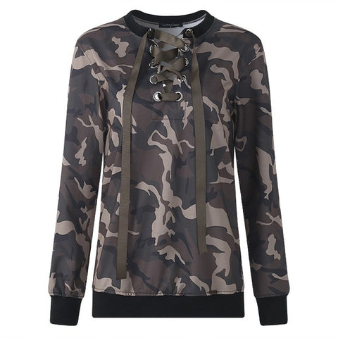 Women Hoodie Sweatshirt Sexy Lace Up Club Wear Outwear Plus Size Party Long Sleeve Camo Pullover Hoody Clothes 5XL Autumn Spring