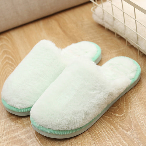 Womens Flat soft Fluffy Faux Fur Flat Slipper Flip Flop Sandals Shoes