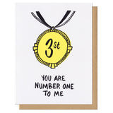 "greeting card which reads ""you are number one to me"" featuring an illustration of a 'thirst' place award"