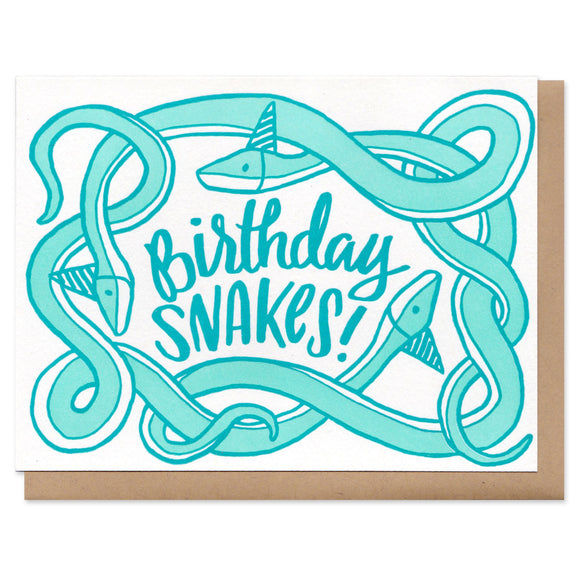 Three tangled teal snakes with birthday hats, surrounding handwritten text that reads