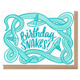 "Three tangled teal snakes with birthday hats, surrounding handwritten text that reads ""Birthday Snakes!"""