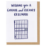 "white greeting card with nacy text that reads ""wishing you a cordial and cleanly cellmate"" above an illustration of a cell door"