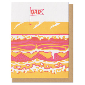 "Greeting card with kraft paper envelope. Illustration of giant sandwich. Flag on toothpick on top that reads, ""dad"""