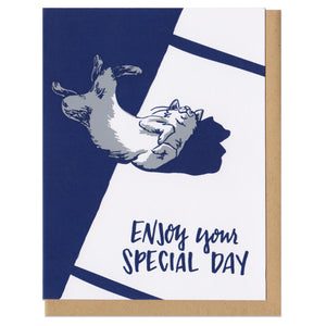 "Greeting card and kraft paper envelope. Text reads ""enjoy your special day."" Illustration in blue and grey of happy cat rolling on it's back in a sunbeam."