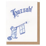 "Greeting card and kraft paper envelope. Text in old-timey blackletter reads, ""huzzah!"" Illustration below of raccoon in medieval garb and heralding trumpet that says ""toot!"""