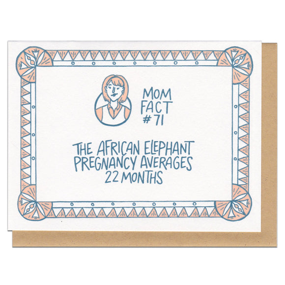 Mom Fact #71 Elephants Greeting Card