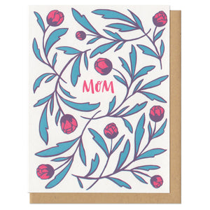 "white greeting card with red  hand-lettering that reads ""mom"" surrounded by red and green illustrated tulips"