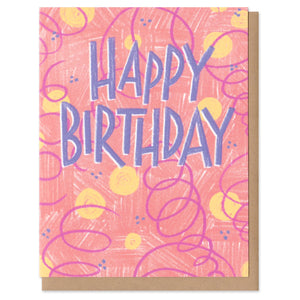 """happy birthday"" handwritten in blueish-purple capital letters, surrounded by festive abstract pink background, yellow dots, blue dots, and pink swirls"