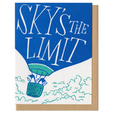 "white greeting card featuring an illustration of two penguins riding in a hot air balloon. hand-lettering on the balloon reads ""sky's the limit"""