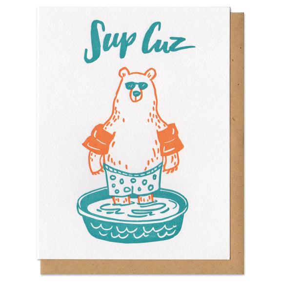 Sup Cuz Bear Greeting Card