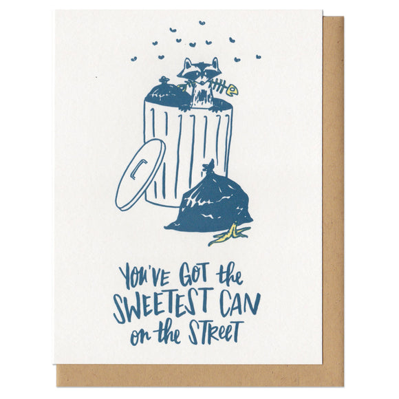 greeting card showing a raccoon rummaging in a trash can which reads