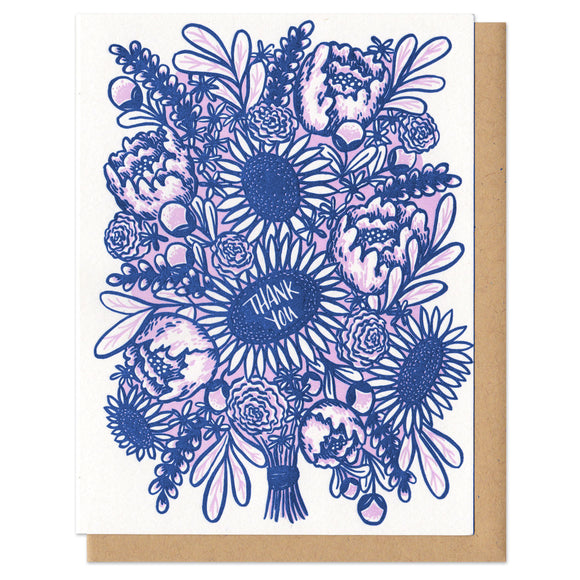 pink and blue illustration of a flower bouquet - one flower features hand-lettering which reads