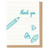 "white greeting card with teal illustrated paper lines, pencil shavings, and a pencil next to hand lettering that reads ""thank you"""