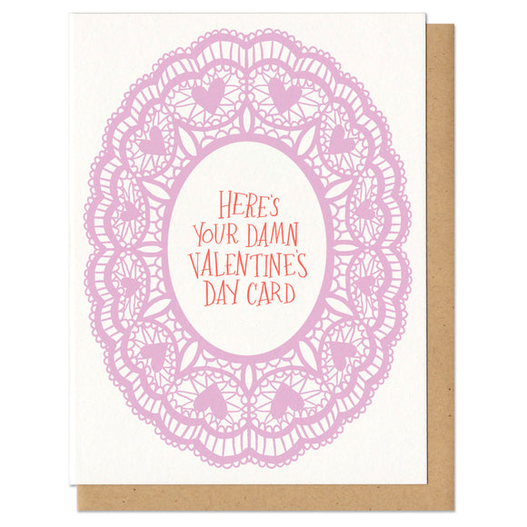 Greeting card and kraft paper envelope. Illustration of pink, lacey doily. At the center the handwritten text reads,
