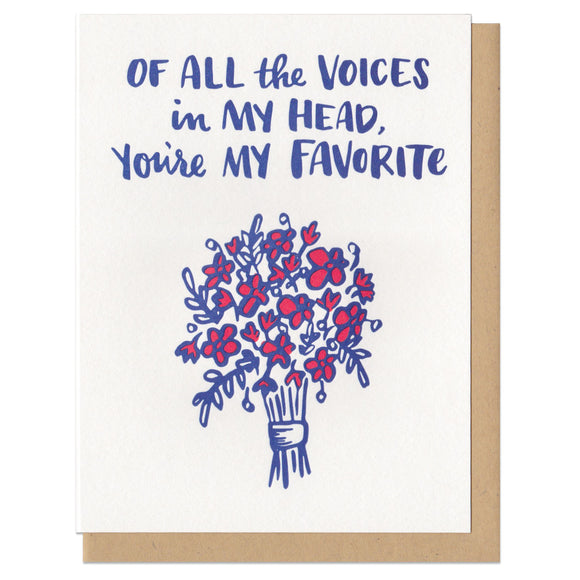 white greeting card featuring a blue and red illustration of a flower bouquet beneath navy hand-lettering that reads