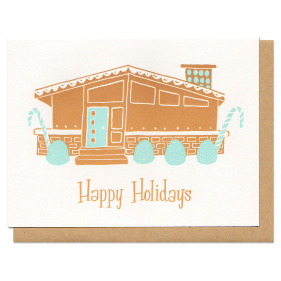 Happy Holidays Gingerbread House Greeting Card