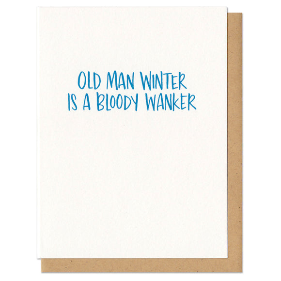 white greeting card with blue hand-lettering that reads