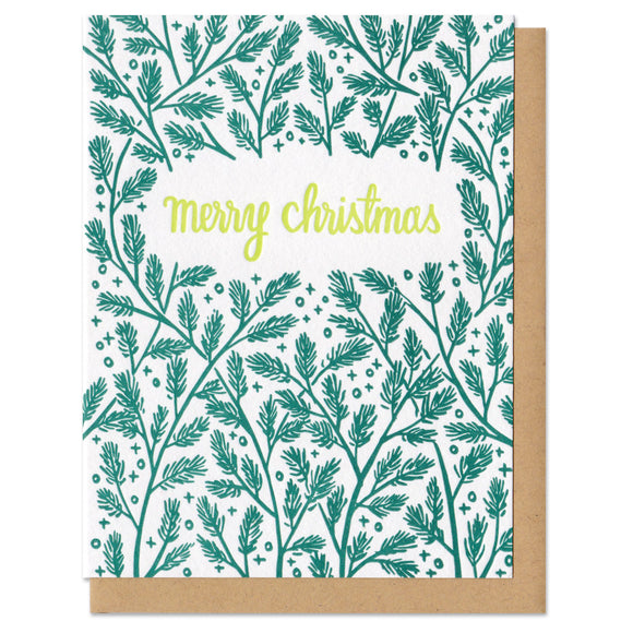 white greeting card with a darkgreen pine boughs pattern surrounding lime green hand-lettering that reads