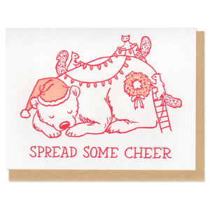 Spread Some Cheer Christmas Bear Greeting Card