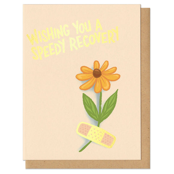 greeting card with gold foil stamping that reads