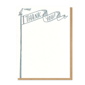 "flat white card with an illustration of a small bird perched on top of a flag pole. the flag reads ""thank you"" and the bird is saying ""so much!"""