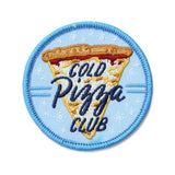 "A blue patch that says, ""cold pizza club"" against a slice of pizza against a white background."