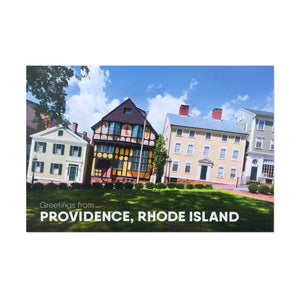 "postcard photograph of very colorful historic buildings in daylight above white text that reads ""greetings from providence, rhode island"""