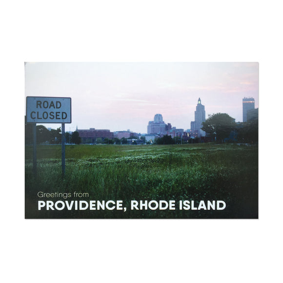 postcard photograph of the Providence skyline with a