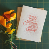 "white greeting card with red hand lettering that reads ""you are like some sort of mythical godess creature"" pictured with orange poppies"