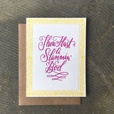 "white greeting card with a yellow floral border and hand-lettering that reads ""thou hast a slammin bod"""