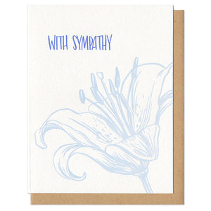 "white greeting card which reads ""with sympathy"" with an illustrated lily"