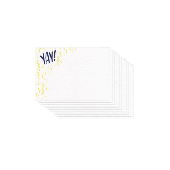 small white flat card with illustrated yellow confetti and navy blue