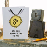 """ you are number one to me"" greeting card pictured with letterpress type and a pencil"