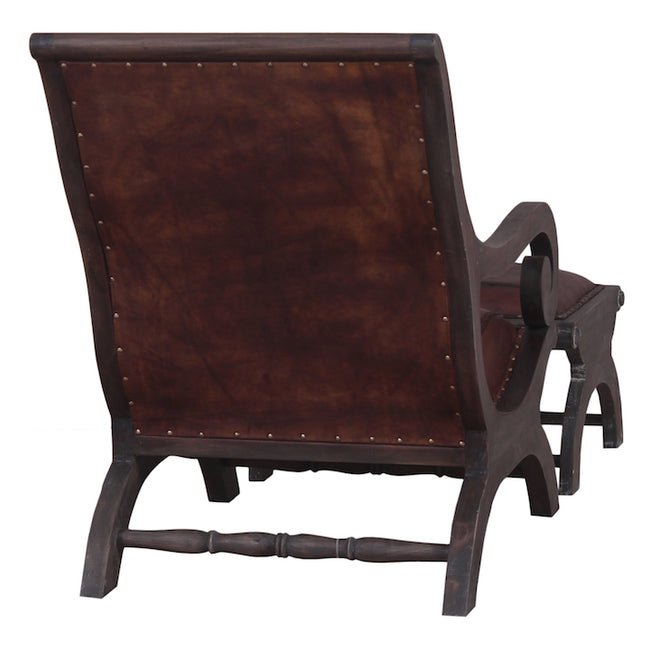 Classic Styled Mahogany Lazy Chair and FootStool