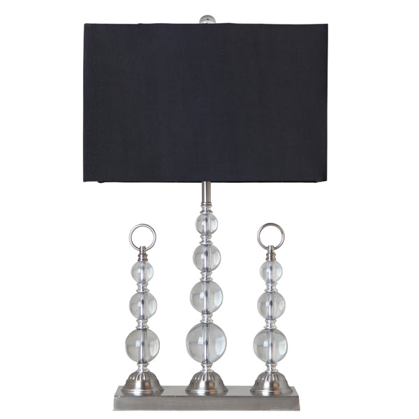 Contemporary Trio Crystal Table Lamp w/Black Shade