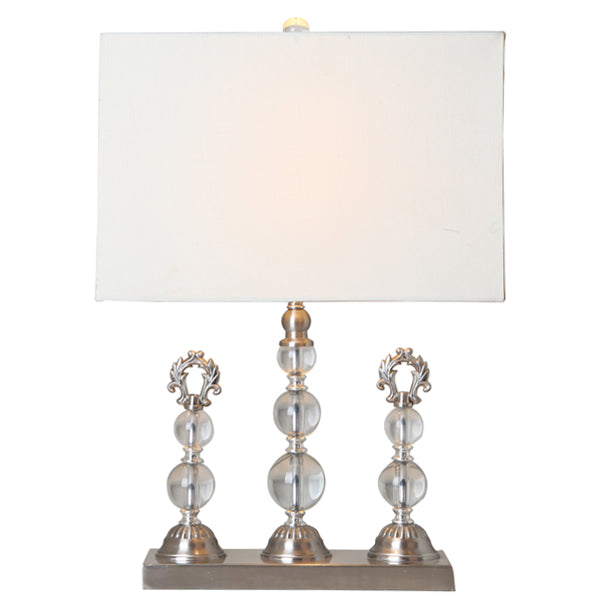 Contemporary Trio Crystal Table Lamp w/Cream Shade
