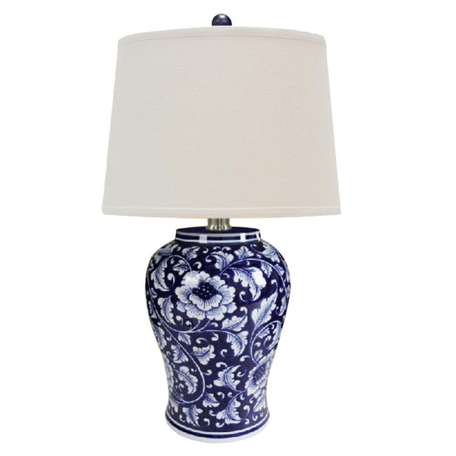 M.C.F's Elegant Blue And White Ceramic Table Lamp