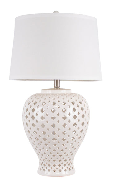 M.C.F's Lattice Ceramic Table Lamp