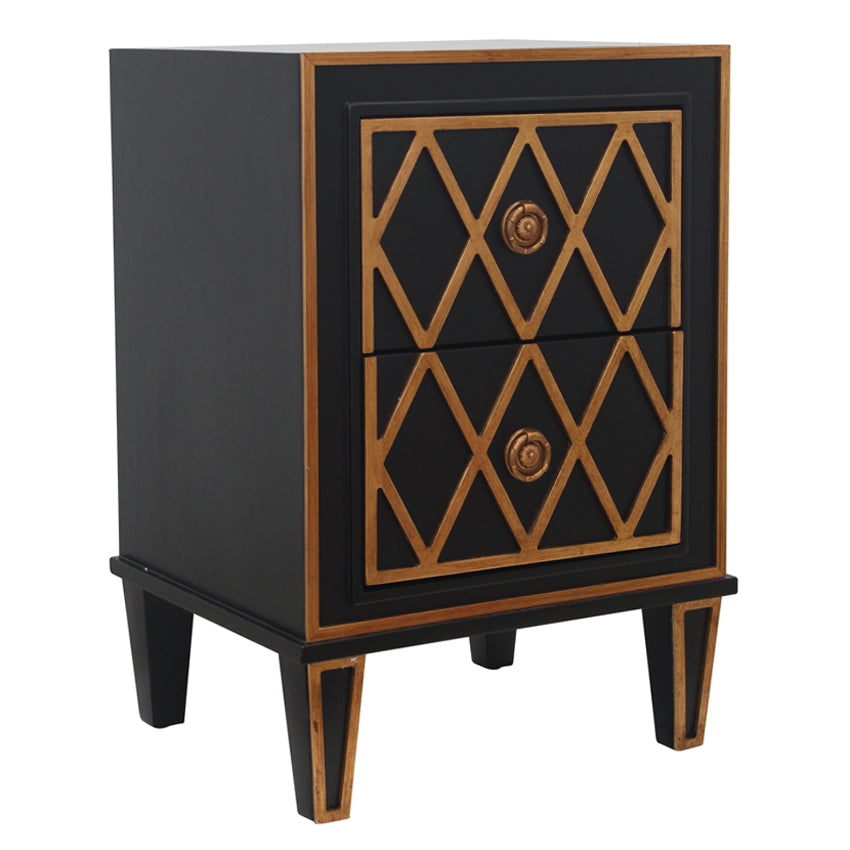 Black And Gold Criss Cross Bedside Two Drawer End Table