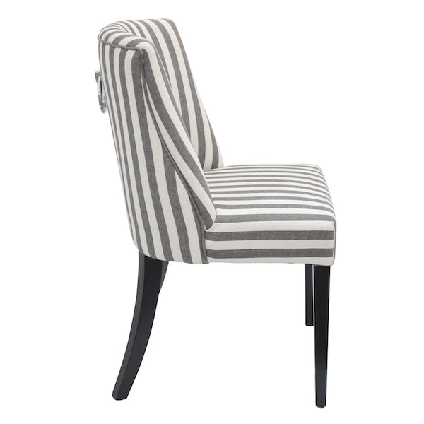 Set Of Two Metropolitan's  Striped Ring Backed Dining Chairs