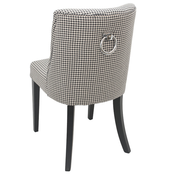 Set Of Two Metropolitan's Houndstooth Ring Backed Dining Chairs