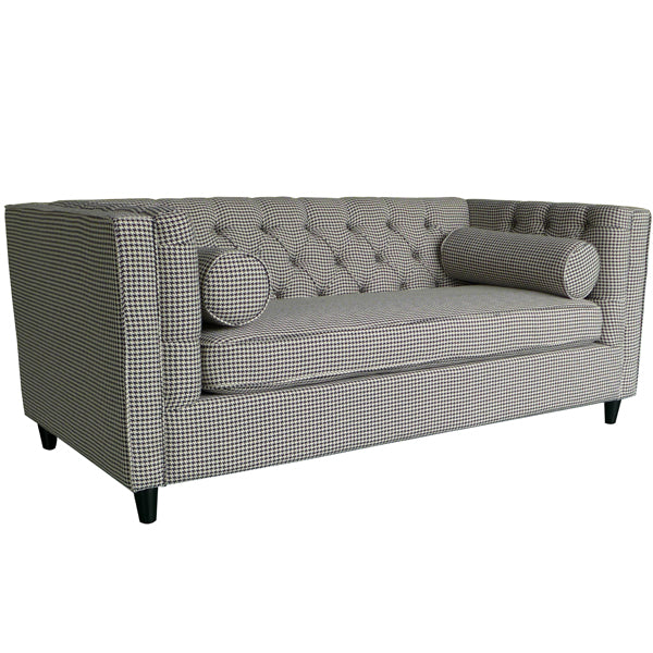 Ascot LoveSeat With Bollards (Stylish Distinctive Houndstooth Upholstery)