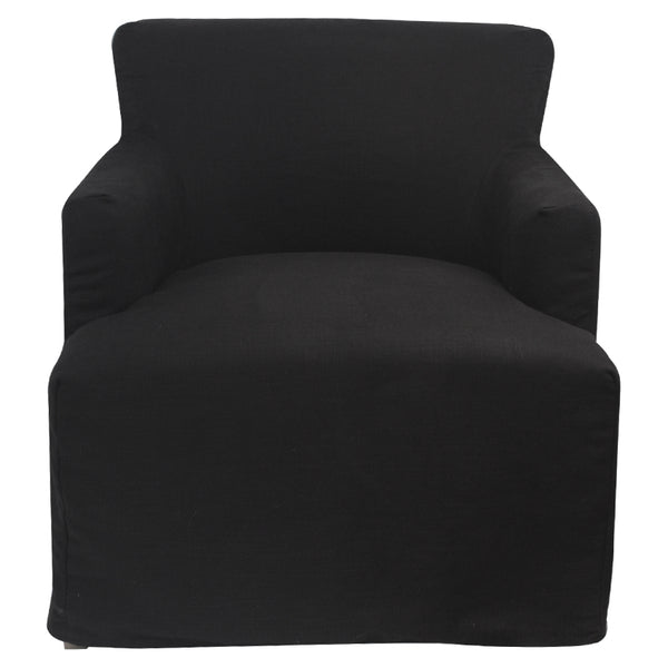 Black Hampton Style Nantucket Armchair With Removable SlipCover