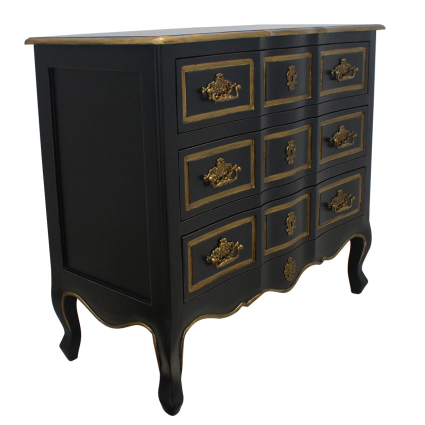 Black with Gold Trim Dynasty Chest of Drawers