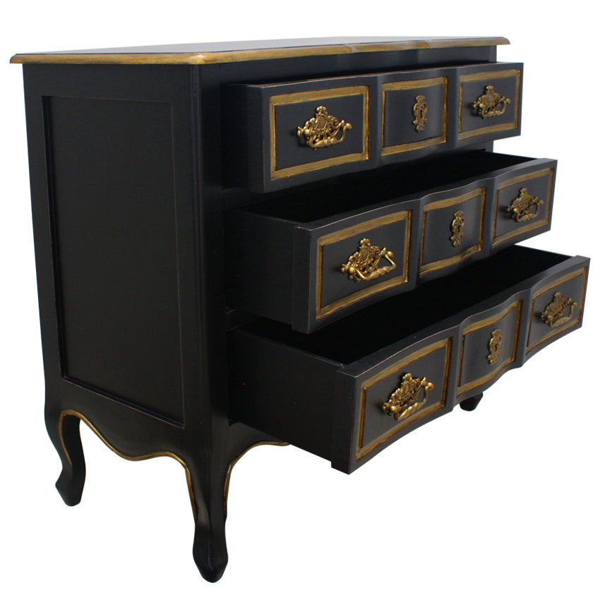 Black And Gold Dynasty Chest of Drawers