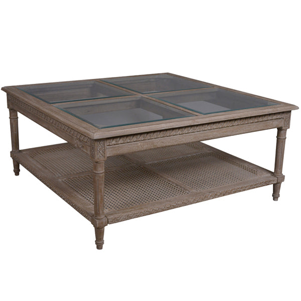 Polo Coffee Table Oak Wash With Four Glass Top