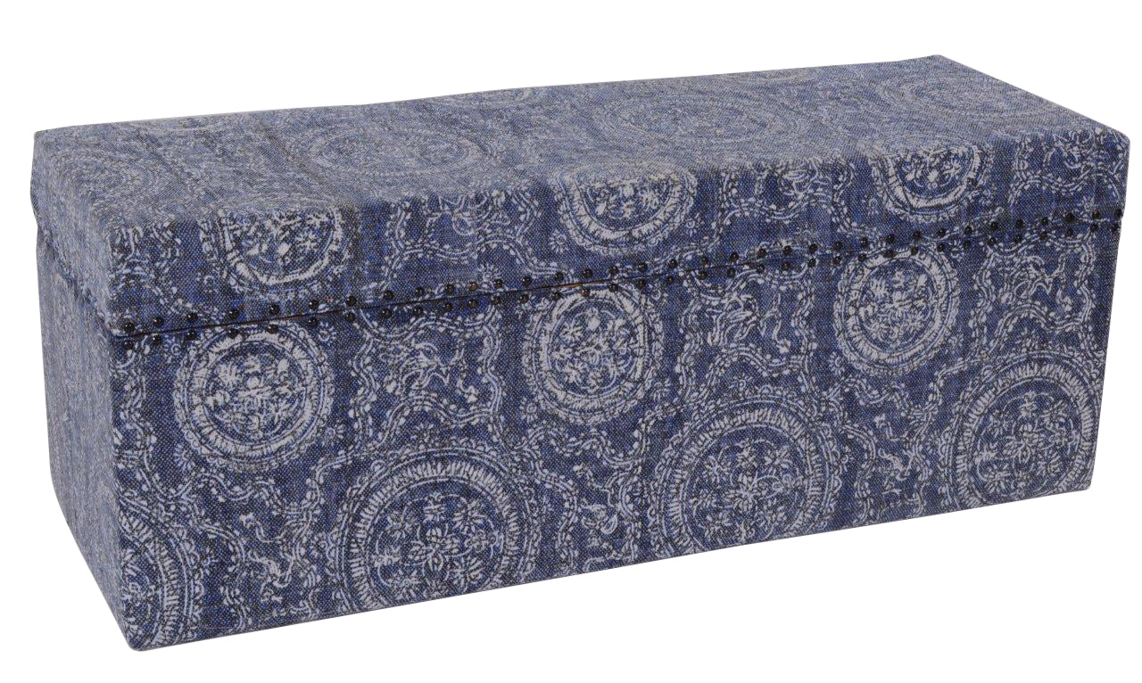 Faded Indigo Storage Ottomans and Trunks