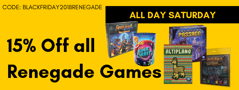 All Day Saturday 15% Off All Renegade Games
