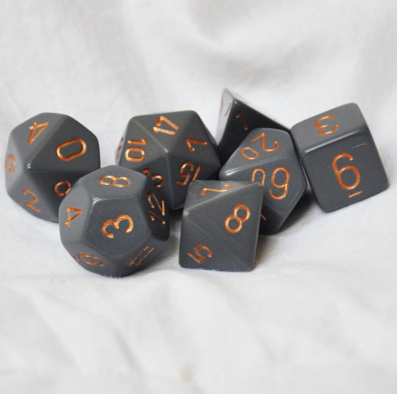 Chessex Opaque Dark Grey/Copper Polyhedral Die Set